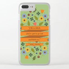 Maya Angelou Floral Inspirational Quote Clear iPhone Case