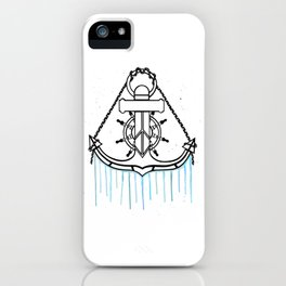 Anchor and Steering Helm [Watercolor] iPhone Case