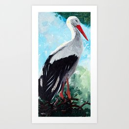Animal - The beautiful stork - by LiliFlore Art Print