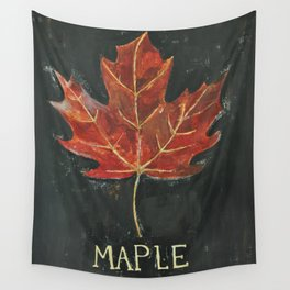 Fall Red Maple Leaf Black Background Wall Tapestry