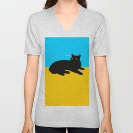 Black Cat on Yellow and Sky Blue Unisex V-Neck