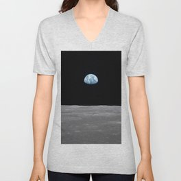 Earth rise over the Moon Unisex V-Neck