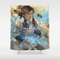 the legend of korra Shower Curtains featuring Korra by Shoko Lam