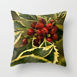 Christmas Holly with Red Berries Throw Pillow
