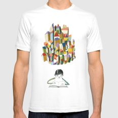 read a city MEDIUM White Mens Fitted Tee