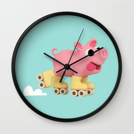 Rosa the Pig does Rollerskating Wall Clock