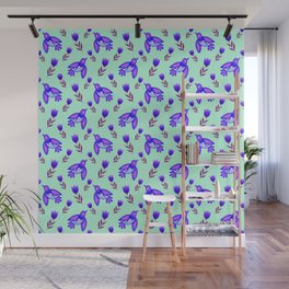 Pretty cute little wild blue birds, blooming garden tulips, nature flowers bright green cute feminine pattern. Hello spring. Gifts for tulip lovers. Botanical floral artistic design. Wall Mural