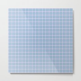 White & Aqua Plaid Pattern with Light Blue Background Metal Print