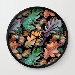 Colorful Woodland Watercolor Oak And Acorn Pattern Wall Clock