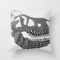 t rex Throw Pillows featuring T-rex by Surfing Shaman