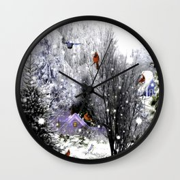 The Birds Of Winter Wall Clock