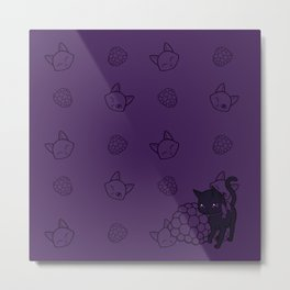 Blackberry Kitty Metal Print