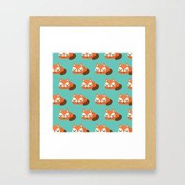 Sleeping Fox Print - Teal Framed Art Print