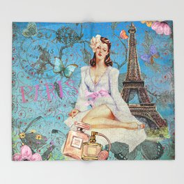 Paris -mon amour-Fashion Girl In France Eiffeltower Nostalgy- French Vintage Throw Blanket
