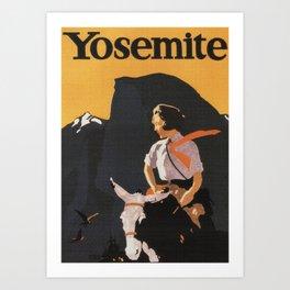 Retro Yosemite Travel Poster Art Print