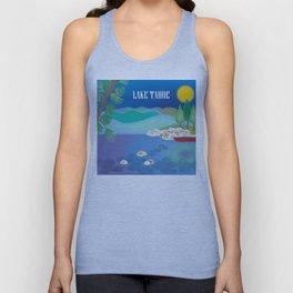 Lake Tahoe - Skyline Illustration by Loose Petals Unisex Tank Top