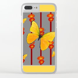 YELLOW FRAMED YELLOW BUTTERFLY POPPY Floral ART Clear iPhone Case