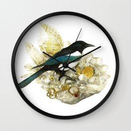 Magpie and Rutilated Quartz Wall Clock