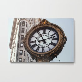 Fifth Avenue Building Clock with Flatiron Building Metal Print