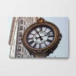 Fifth Avenue Building Clock with Flatiron Building Metal Print