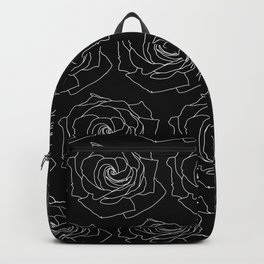 Black with White Rose Pattern Thin Lines Backpack