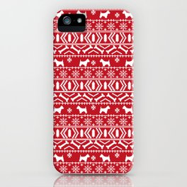 Westie fair isle west highland terrier christmas holiday gifts dog pattern iPhone Case