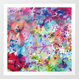 Abstract Bright Watercolor Paint Splatters Pattern Art Print