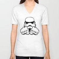 dentist V-neck T-shirts featuring Dark Side Knuckle by Don Calamari