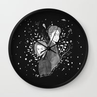 dana scully Wall Clocks featuring The Truth is Out There - Mulder and Scully by littletinyghost