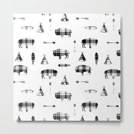 Buffalo Tribe // Grey/Black Plaid Metal Print