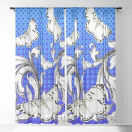 WHITE BUTTERFLIES FLUTTERING WITH BAROQUE FLORAL Sheer Curtain