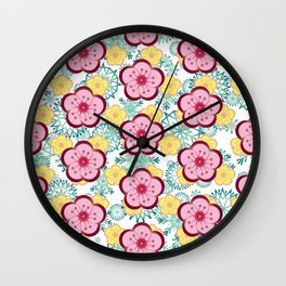 Sweet Plum Flower with Jade Snow Flake Wall Clock