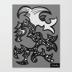 Kissing Dragon Black and white Canvas Print
