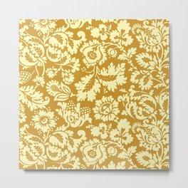 William Morris Floral Damask, Mustard Yellow Metal Print