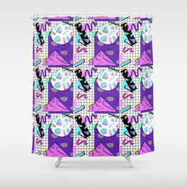 Trapper Keeper 80s Crazy Grid Design Shower Curtain