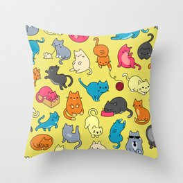 Meoow - yellow Throw Pillow