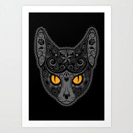 Gray Day of the Dead Sugar Skull Cat Art Print