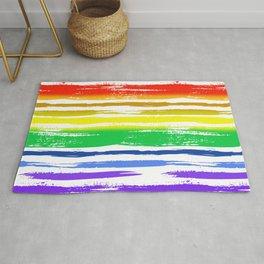 Pride Rainbow Gradient Funky Grunge Brushstrokes on White Rug
