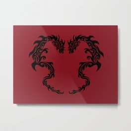Two Tribal Dragons on Red Metal Print