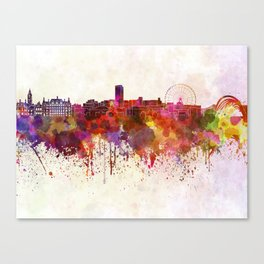 Sheffield skyline in watercolor background Canvas Print