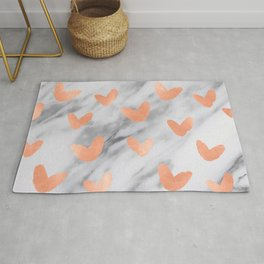 Hearts Rose Gold Marble Rug