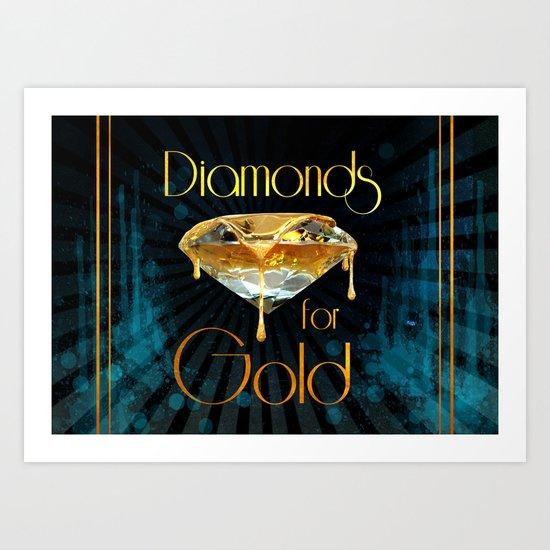 Diamonds for Gold Splatter Art Print