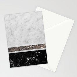 White and Black Marble Silver Glitter Stripe Glam #1 #minimal #decor #art #society6 Stationery Cards