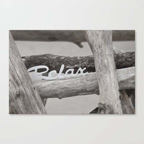 Relax driftwood summer beach Canvas Print