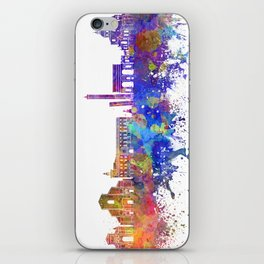 Bologna skyline in watercolor background iPhone Skin