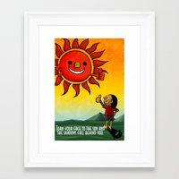 maori Framed Art Prints featuring Maori & Sun by Noah's ART