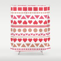 valentine Shower Curtains featuring Valentine by Oh Dulce
