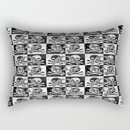 Swimming Glyphs and Sunflowers: Checkered Version With Skulls Rectangular Pillow