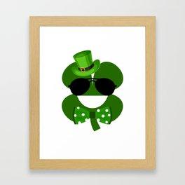 Clover Emoji With Green Top Hat Cool St Patricks Day Framed Art Print