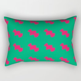 Red pattern green background Rectangular Pillow